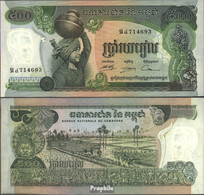 Kambodscha Pick-Nr: 16b Bankfrisch 1975 500 Riels - Kambodscha