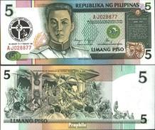 Philippinen Pick-Nr: 179 Bankfrisch 1991 5 Piso - Philippinen