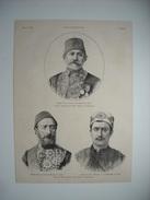 GRAVURE 1883. PERSONNALITES DU LIBAN. WASSA PACHA, NOUVEAU GOUVERNEUR DU LIBAN. RUSTEM-PACHA. PRENK BIB DODA. - Estampas & Grabados