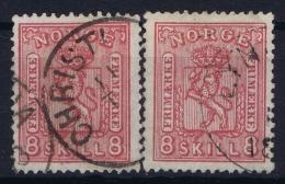 Norway:  Mi  15 A + B Rosakarmin + Rosa  Obl./Gestempelt/used  1867 - Gebraucht