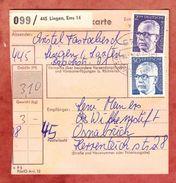 Paketkartenteil, MiF Heinemann, Lingen Nach Osnabrueck 1974 (44020) - Covers & Documents