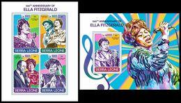 SIERRA LEONE 2017 - Ella Fitzgerald. M/S + S/S Official Issue. - Musica