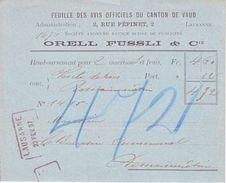"""FEUILLE DES AVIS OFFICIEL DU CANTON DE VAUD - CACHET DE REMPLACEMENT """"LAUSANNE 22.FEV.97"""" - Poststempel"""