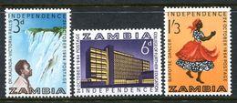 Zambia 1964 Independence Set HM (SG 91-93) - Zambia (1965-...)