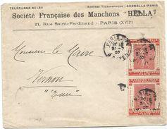 N°129 X2 PORTE TIMBRE MANCHON HELLA PARIS 31.7.1907 RARE EN MULTIPLE - Marcophilie (Lettres)