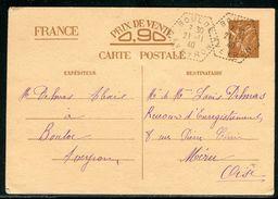 France - Entier Postal De Bouloc Pour Méru En 1940 - Ref D46 - Entiers Postaux