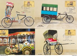 INDIA, 2017, MAX CARDS, Set Of 4, TRANSPORT, RICKSHAWS, Cycle, Motorcycle,Hand-drawn,School,!st Day NEW DELHI Cancelled - India