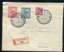 Tchécoslovaquie - Enveloppe En Recommandé De Prague En 1937 , Affranchissement Plaisant - Ref D56 - Tchécoslovaquie