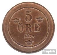 Schweden KM-Nr. : 736 1875 Sehr Schön Bronze Sehr Schön 1875 5 Öre Gekröntes Monogramm - Schweden