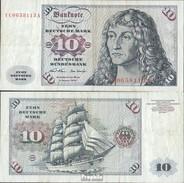 BRD Rosenbg: 270c Austauschnote, Serie: YC/ A Gebraucht (III) 1970 10 Deutsche Mark - [ 7] 1949-… : FRG - Fed. Rep. Of Germany