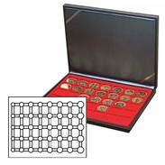 Lindner 2364-2556E NERA M Coin Case With A Light Red Insert. Suitable For 5 EURO Coin Sets In LINDNER Coin Capsules. - Supplies And Equipment