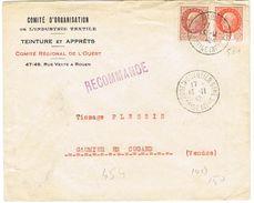 ENVELOPPE  A EN-TETE COMITE D'ORGANISATION DE L'INDUSTRIE TEXTILE ROUEN RECOMMANDEE - Marcophilie (Lettres)