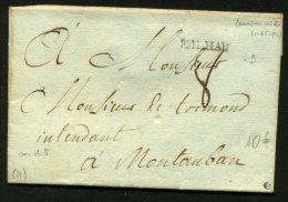 AVEYRON: Pli De MILLAU De 17?? En Port Du Avec Marque Linéaire MILHAU P MONTAUBAN - Marcophilie (Lettres)