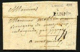 MEURTHE ET MOSELLE: Pli De LUNEVILLE De 1718 En Port Du Avec Marque Linéaire LUNEV. P MONTPEIROUX - Marcophilie (Lettres)
