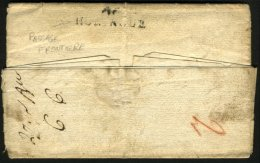 BAS RHIN Et HAUT RHIN: Pli De STRASBOURG 1808 En Port Du + Marque 67 STRASBOURG + Verso 66 HUNINGUE > BASLE - Marcophilie (Lettres)