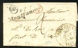 MAINE ET LOIRE: Pli De LONGERON 1839 En Port Du + CàD Type 13 BEAUPREAU + Cursive 47/Montfaucon + OR > VEZIN - Marcophilie (Lettres)