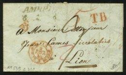SUISSE (Tessin): Pli De 1848 En Port Du +marque AMBRI + 3 +TB + Entrée Rouge BALE Bau.FR.2 DE BALE  > LYON - Marcophilie (Lettres)