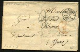 SUISSE: Pli De 1861 En Port Du FRONTALIER + CàDate GENEVE 2 1/2 S + Entrée Rouge SUISSE GEX > GEX - Marcofilie (Brieven)