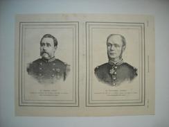 GRAVURE 1883. L'EXPEDITION DU TONKIN. GENERAL BOUET, COMMANDANT SUPERIEUR. VICE-AMIRAL COURBET, COMMANDANT EN CHEF NAVAL - Prints & Engravings