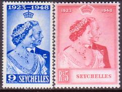 SEYCHELLES 1948 SG #152-53 Compl.set MLH CV £15.15 Silver Wedding - Seychelles (...-1976)