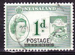 Nyassaland - Stempelmarke, Mit Aufdruck POSTAGE (MiNr: 115) 1963 - Gest Used Obl  !lesen/read/lire! - Nyassaland (1907-1953)