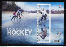 CANADA 2017, CANADA HISTORY Of HOCKEY, Joint Issue With USA,  Sheetlet Of 2 Stamps - Blocs-feuillets