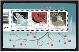 2017 CANADA, CHRISTMAS ,  POLAR BEAR, CARDINALS, CARIBOU SS Of  The Three Rates  NEW - Blocs-feuillets