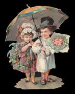 CHROMO DECOUPIS - Enfants Sous Une Grande Parapluie - 100x90 Mm - Enfants