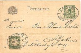Deutschland, 1896, Postkarte, Nürnberg Landesausstellung Nach Schweiz, Siehe Scans! - Bavaria