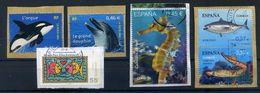 Used Sea Animal Stamps, Dolphin, Tuna Fish, Orca, See Horse, Lamprey, Delfín, Orca, Atún, Lamprea - Vie Marine
