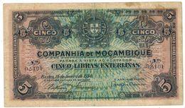 Mozambique 5 Libras Esterlinas 1934 X2. VF. - Mozambique