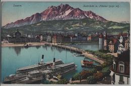 Luzern - Seebrücke Und Pilatus - Animee Dampfschiffe - Photo: E. Goetz - LU Lucerne