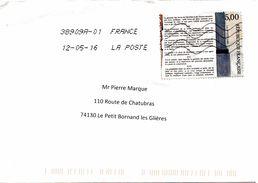 Enveloppe Oblitération LA POSTE 38909A 12/05/2016 - Postmark Collection (Covers)