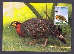 BHUTAN 2003 MAXIMUM CARD BIRDS - BLYTH'S TRAGOPAN - Gallináceos & Faisanes