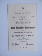 77 Ordination Sacerdotale De L'Abbé Joseph MAROIS Curé D'EGREVILLE 25è Anniversaire 1902 1927 Souvenir Religion - Announcements