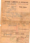 VP11.731 - Chemins De Fer De L'Est - Récépissé - Gare De SAULXURES  Pour MANTES - GASSICOURT - Titres De Transport
