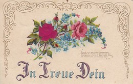 AK In Treue Dein - Blumen Rosen Vergissmeinnicht - Reliefdruck - Ca.  1910 (31728) - Blumen