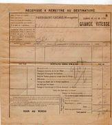 VP11.738 - Chemins De Fer De L'Etat- Récépissé - Gare De PARIS - SAINT - LAZARE - Titres De Transport
