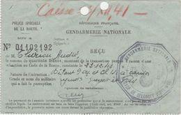 Reçu Du 23-12-1941 / Amende Infraction Code De La Route / Gendarmerie De Selongey 21 / Côte D' Or - Frankrijk