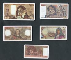 Série De 5 Plaques De Jeu En Matère Plastique Repliques De Billets De La Banque De France - Jeton Poker Games Token - Casino