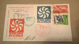 25° GIRO AEREO DI SICILIA 1971 CON ETICHETTA - ERINNOFILO - Avions