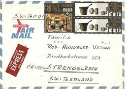 Malta, 1970, Express Airmail Cover To Switzerland, See Scans! - Malta