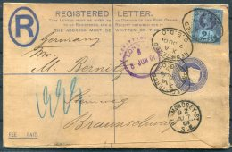 1901 GB QV Jubilee Uprated Registered Letter Stationery Cover London Bermondsey - Braunschweig - Storia Postale