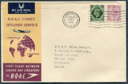 1952 GB B.O.A.C. Comet Jetliner Service First Flight Cover, London - Singapore - 1902-1951 (Kings)
