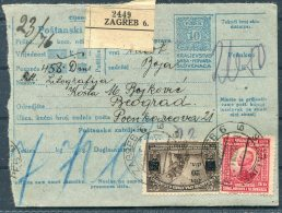 1922 Serbia Zagreb Parcelcard - Beograd - 1919-1929 Königreich Der Serben, Kroaten & Slowenen