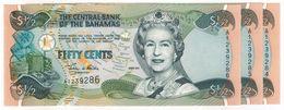 Bahamas 1/2 Dollar 2001 X 3 , UNC - Bahamas