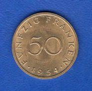 Sarre  50  Fr  1954 - Sarre (1954 – 1955)