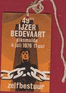 Ijzerbedevaart Kaaskerke Diksmuide Herkenningsteken 1976 Vlaamse Beweging Illustrator Andre Sollie - Tickets D'entrée