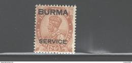 "BURMA 1937 ""BURMA - SERVICE OVPT."" #O6 MNH - Burma (...-1947)"