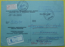 1992 RECOMMANDED JUDICAL LETTER PORT PAYE *PRIZREN To ZRZE* EX YUGOSLAVIA. NON RECLAME, RRRR - Kosovo